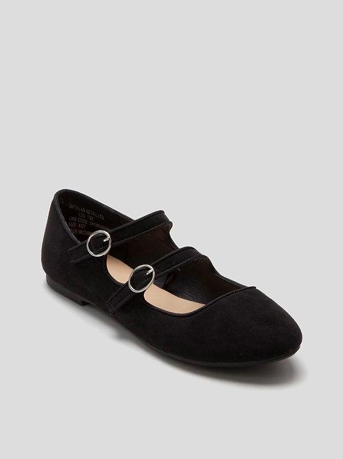 Double Strap Ballet Shoes in Black