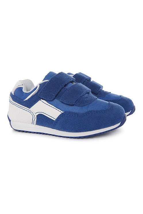Early days - blue velcro trainer