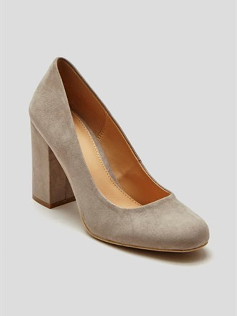 Papaya Block Heel Court Shoes - Grey