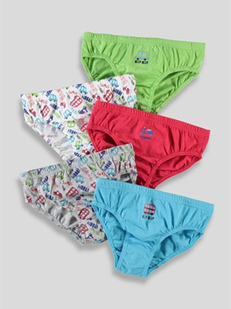 Grey Patterned Boys 5 Pack Briefs from Matalan