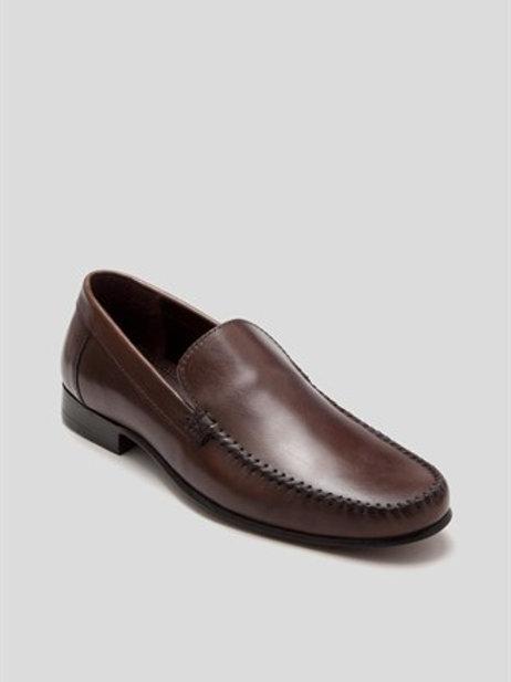 Leather Slip On Loafer - Brown