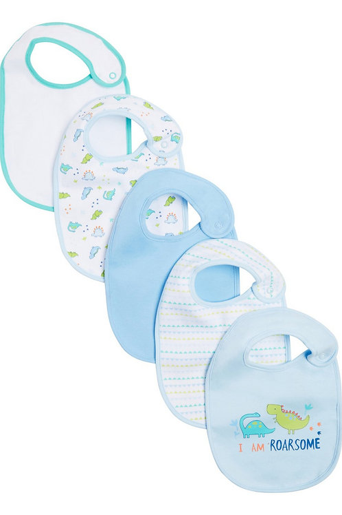 Blue F&F 5 Pack of Dinosaur Bibs