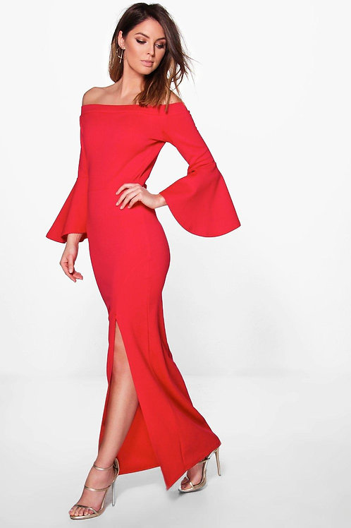 Ava Flute Sleeve Off The Shoulder Maxi Dress - Red