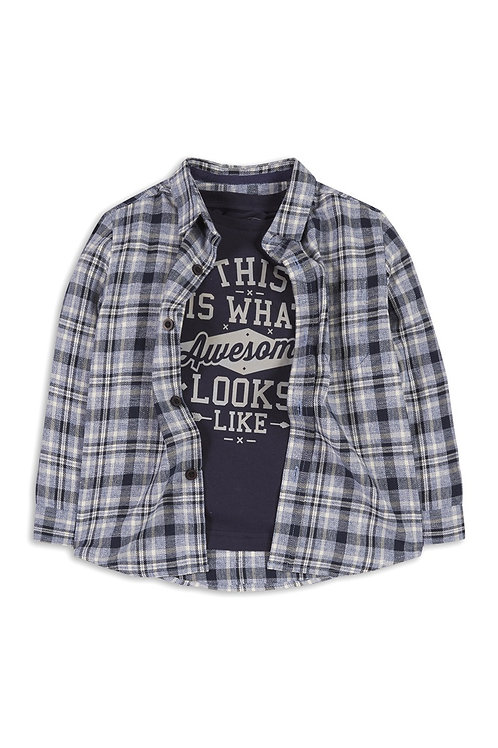 Younger Boy Blue Check Shirt Top Set by Rebel