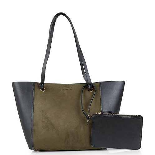 Khaki Suedette Panel Tote Bag - New Look