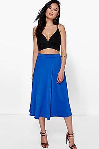 Plain Full Circle Midi Skirt - Cobalt