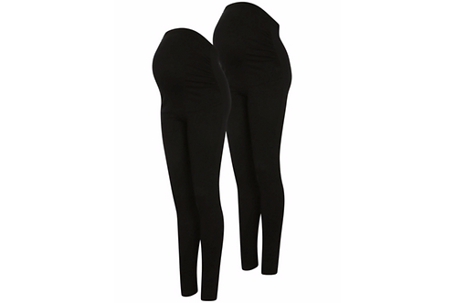 Maternity 2 Pack Over Bump Leggings by George - Black