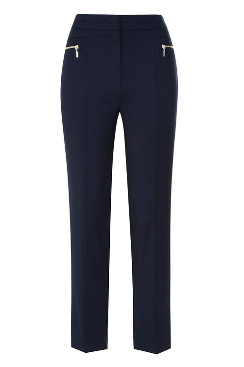 Navy blue F&F Zip Detail Slim Leg Trousers