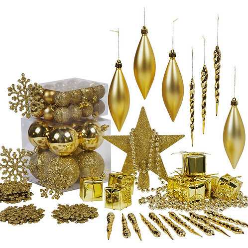 Gold Christmas Tree Decorations - 75 Pack