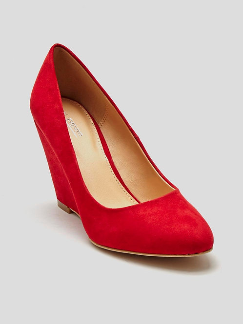 Red Almond Toe Wedges by Matalan
