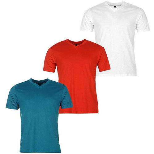 Donnay Three Pack V Neck TShirt Men's - Red/Teal/White