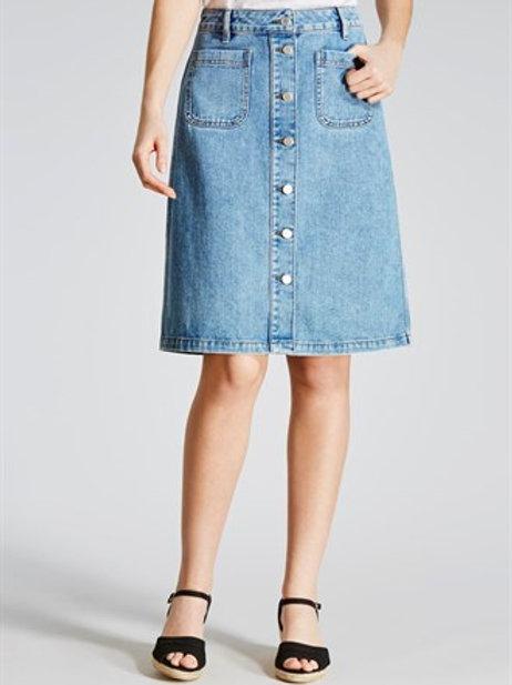 Button Through Denim Midi Skirt