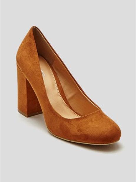 Papaya Block Heel Court Shoes - Tan