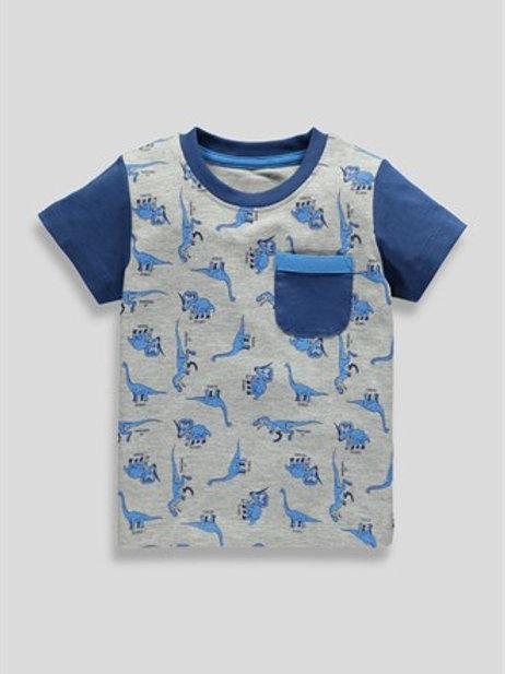 Grey Boys Dinosaur Print T-Shirtfrom Matalan