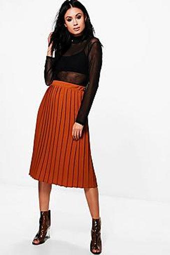 Crepe Pleated Midi Skirt - Rust
