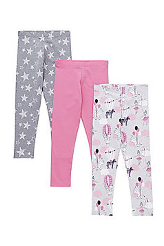F&F 3 Pack of Circus, Star and Plain Leggings