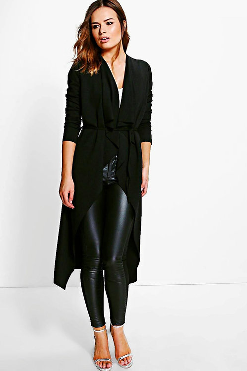 Black Belted Midi Duster
