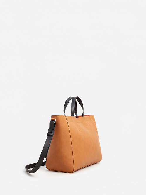 Brown Contrast leather bag from Mango