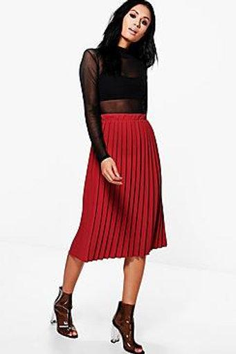Crepe Pleated Midi Skirt - Red
