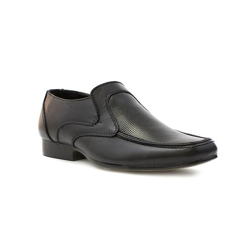 Beckett Boys Black Punch Effect Formal Shoe