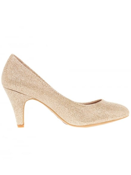 WOMENS GOLD DIAMONTE HEELED COURT SHOE BY BLUE INC