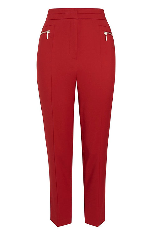 Red F&F Zip Detail Slim Leg Trousers