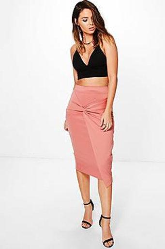 Knot Front Scuba Midi Skirt
