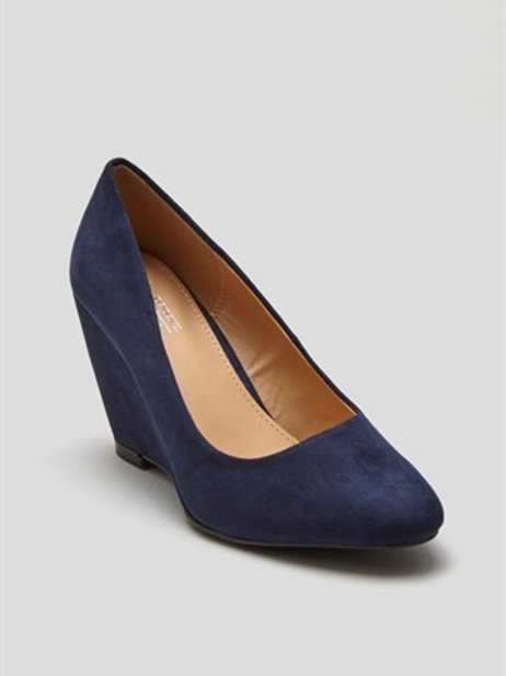 Navy Almond Toe Wedges by Matalan