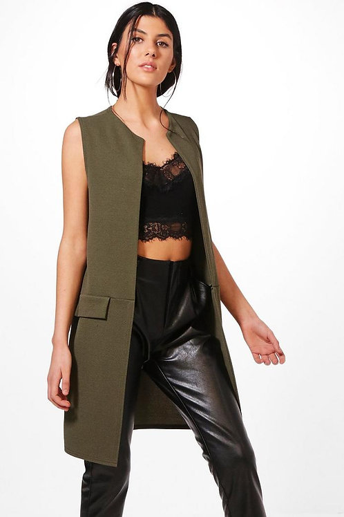 Khaki Sleeveless Duster