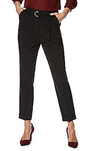 F&F Buckle Waist Peg Trousers - Black