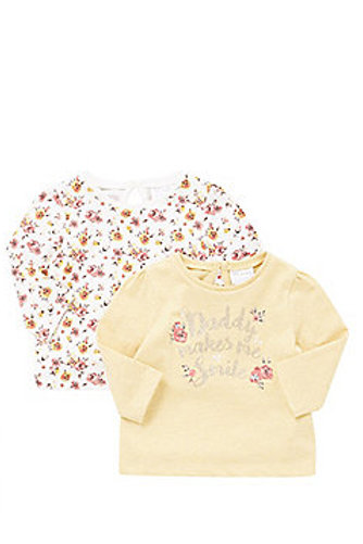 F&F 2 PACK OF SMILE SLOGAN AND FLORAL LONG SLEEVE T-SHIRTS