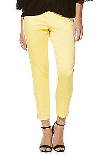 F&F Sateen Mid Rise Slim Leg Ankle Grazer Trousers - Yellow