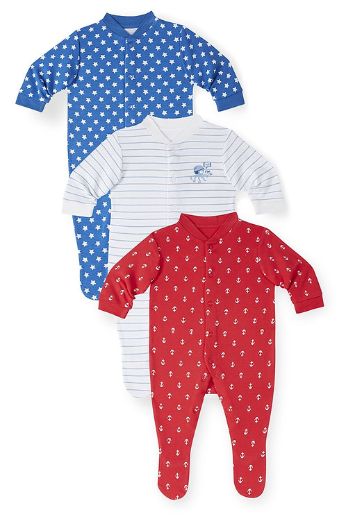 Early Days - 3 Pack Nautical Sleepsuits