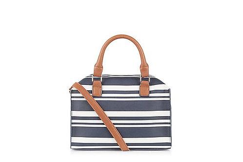 Blue Stripe Mini Bowler Bag by New Look