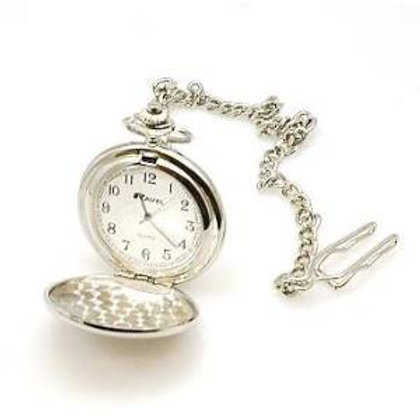 HUNTER FOB/POCKET WATCH-Chrome Lid/Chain/Clip-Gift