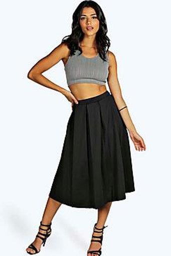 Box Pleat Midi Skirt - Black