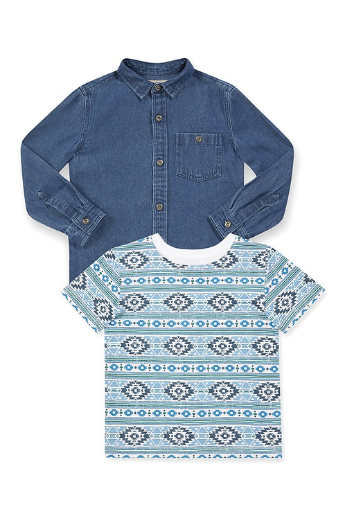 Rebel - Aztec Shirt and Denim Shirt Set