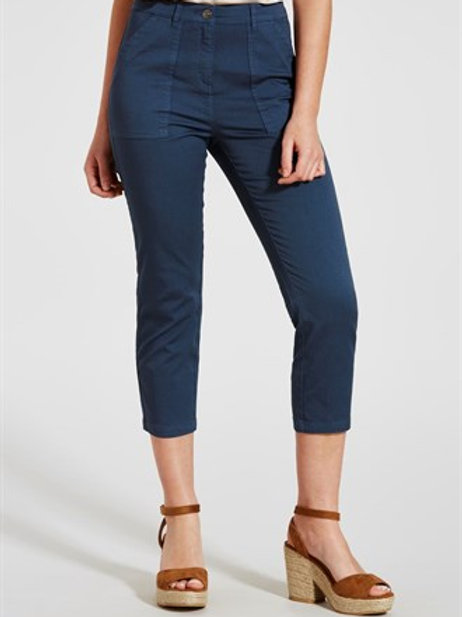 Casual Cropped Trousers - Blue