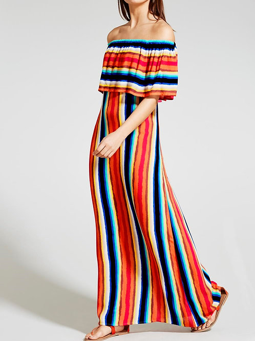 Stripe Bardot Maxi Dress