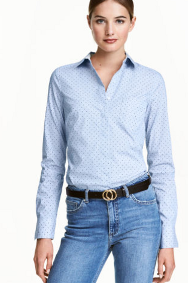 H&M Stretch shirt - Blue/Spotted