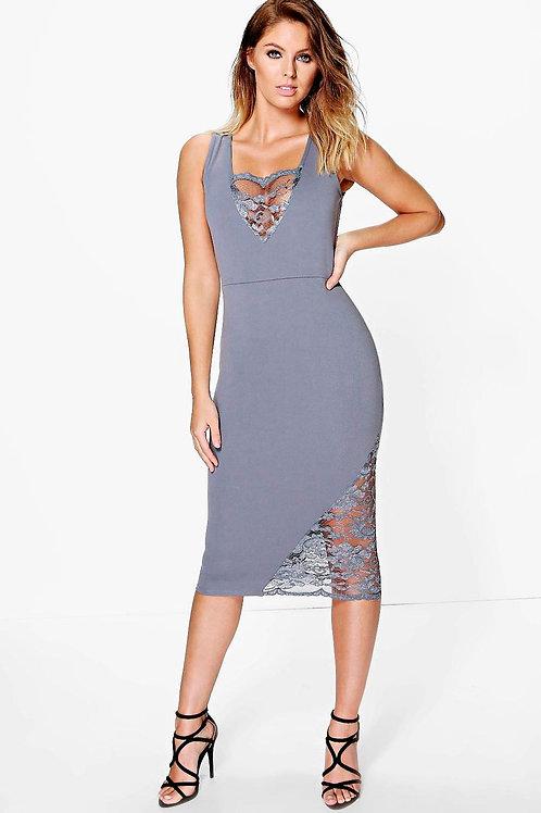 Lace Detail Sleeveless Midi Dress - Smoke
