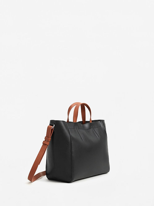 Black Contrast leather bag from Mango