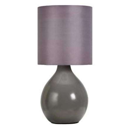 ColourMatch Round Ceramic Table Lamp - Flint Grey.