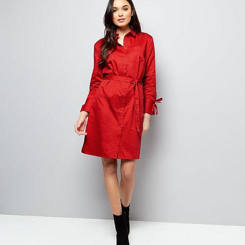Red Tie Sleeve Tie Waist Shirt Dress by New Look