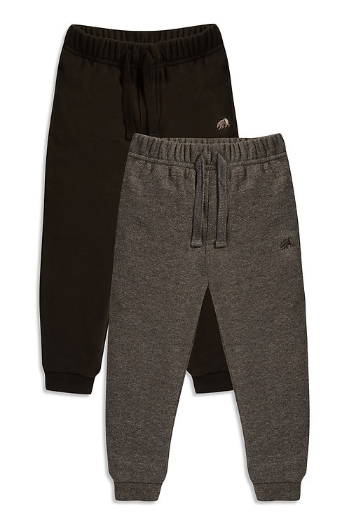 Rebel Baby Boy 2PK Joggers - Charcoal and Black