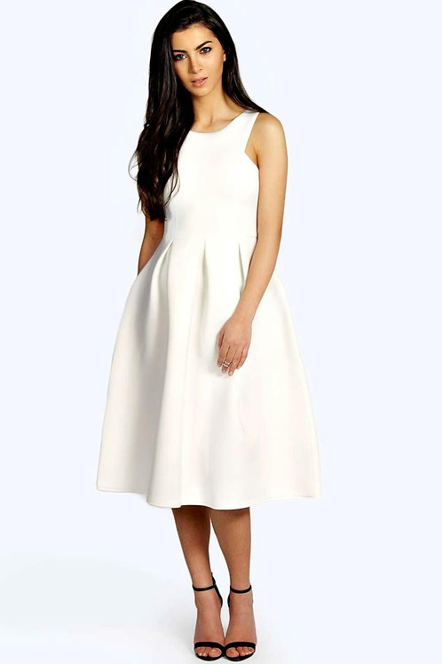 Scuba Cutaway Neckline Midi Dress - Ivory