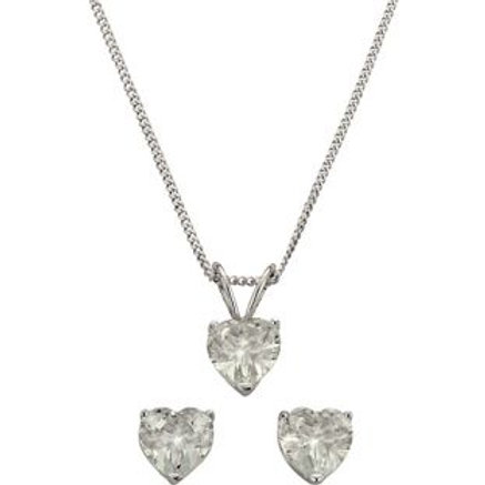 Sterling Silver Cubic Zirconia Pendant / Earrings