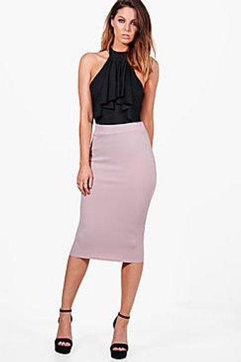 Crepe Stretch Midi Skirt