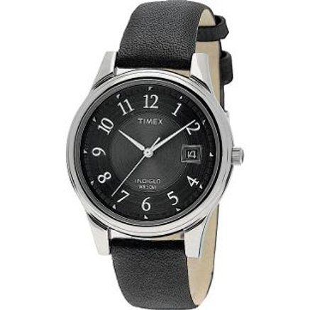 Timex Men's Quartz Traditional Black Leather Strap Watch