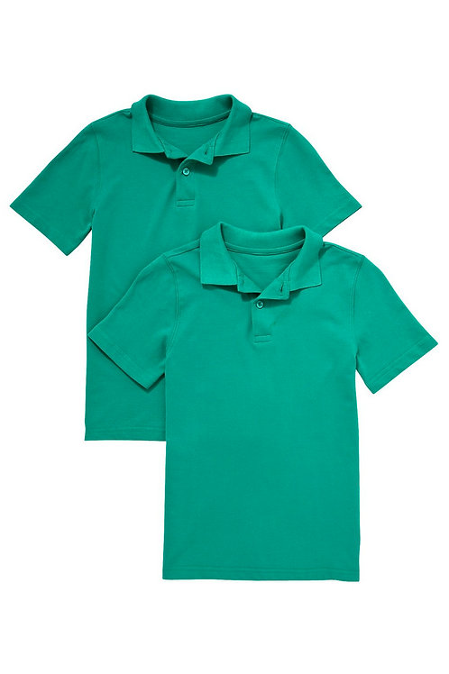 2 Pack of Unisex Polo T-Shirts in Jade